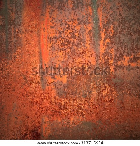 old rusted metal with peeling red and orange paint - stock photo