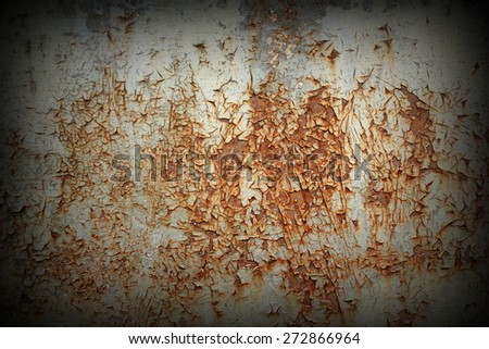 old rusted metallic board texture, cracked paint on surface - stock photo