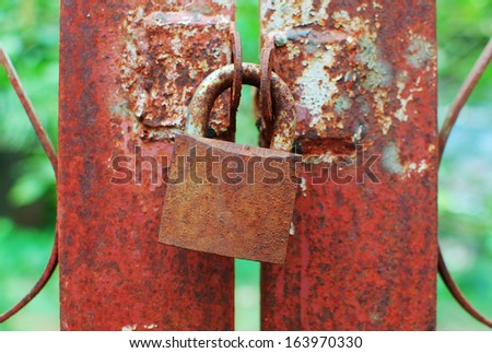 Old rusted Padlock - stock photo