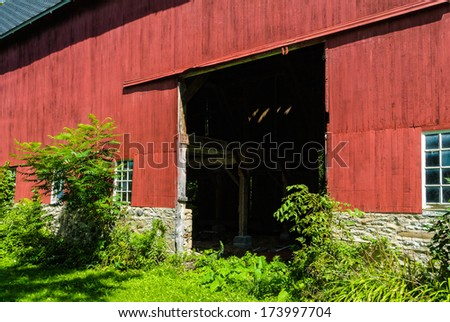 Old Rustic Barn with Opening for Doors - stock photo