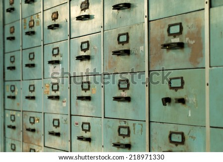 Old rustic metal drawer - stock photo