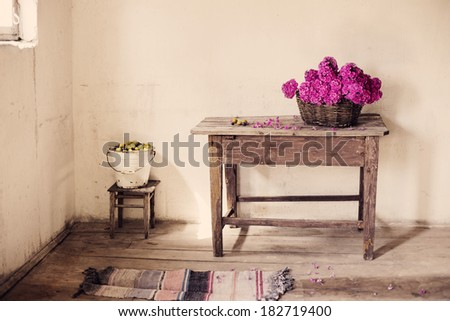 Old  rustic room - stock photo