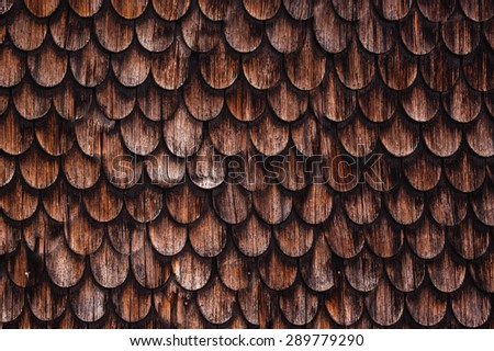 old rustic wood tiling roof texture background - stock photo