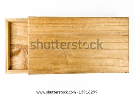 Old rustic wooden box - isolated on white - stock photo