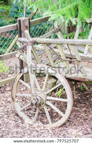 Old rustic wooden cart in spring