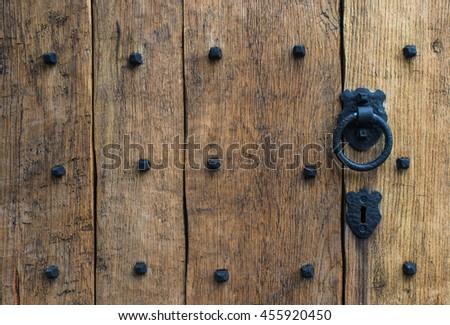 Old Rustic Wooden Castle Door Background