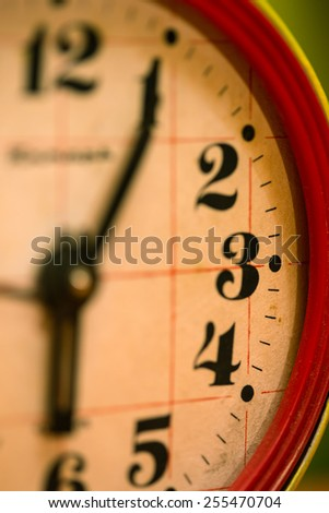 old rusty alarm clock face close up