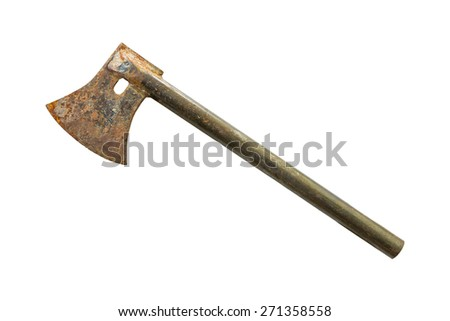 Old rusty axe isolated on white background - stock photo