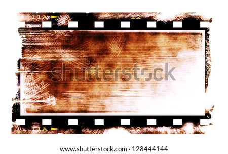 Old rusty blank film strip isolated on white background