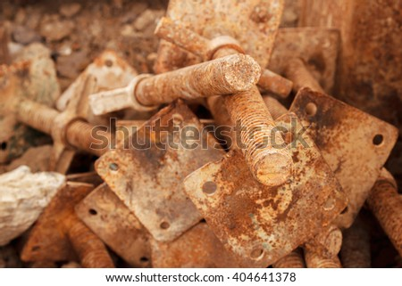 Old rusty bolts on construction sites.