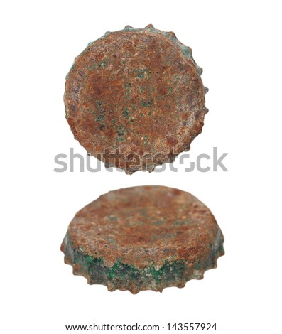 old rusty bottle cap isolated on white - stock photo