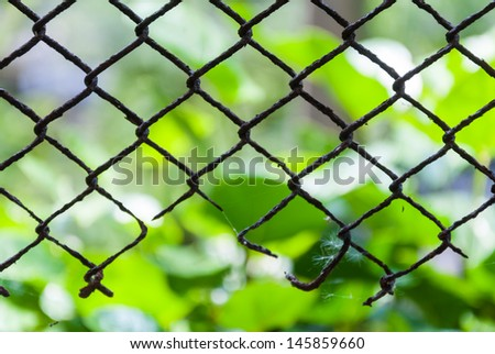 Old rusty broken steel cage