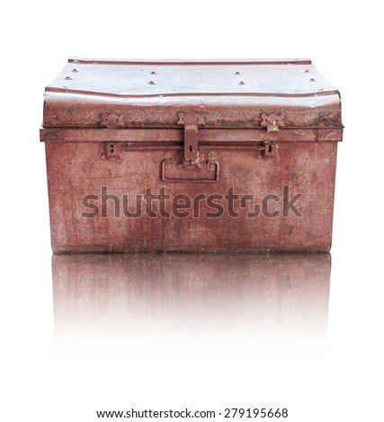 Old rusty casket on white background with clipping path - stock photo