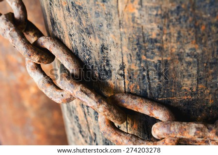 Old rusty chain  - stock photo