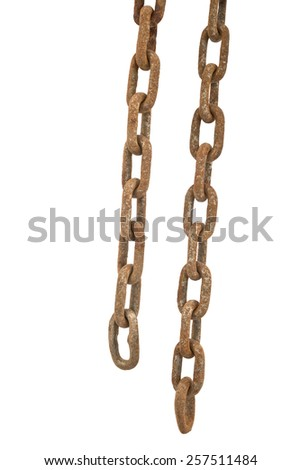 old rusty chain isolated on the white background