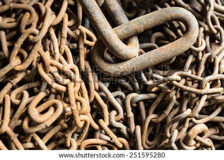 Old rusty chains of different sizes. Close up. - stock photo