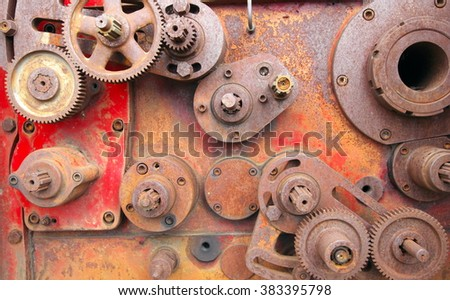 Old Rusty Cogs for heavy industry - stock photo