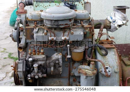 old rusty diesel engine - stock photo