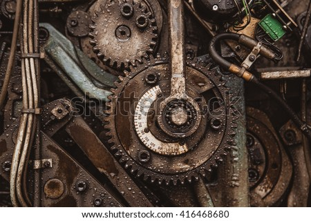Old rusty gears - stock photo