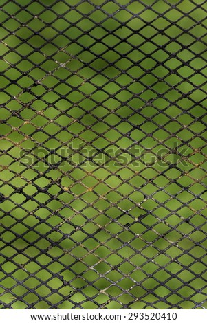 Old rusty grid metal against green blurred background - stock photo