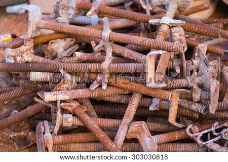 old rusty grungy metal or bars in construction structure - stock photo