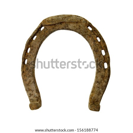 old rusty horse shoe on a white background