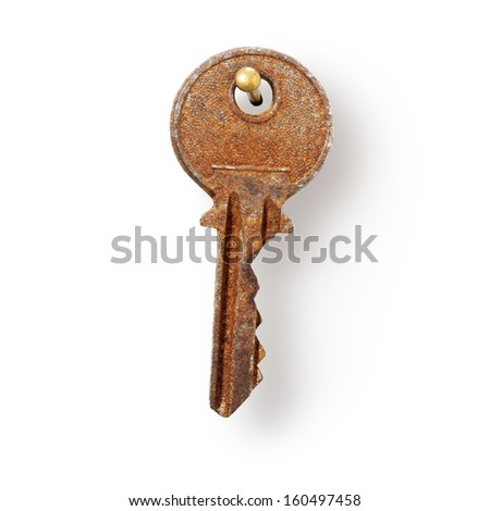 Old rusty house key hanging on nail, white background, clipping path included
