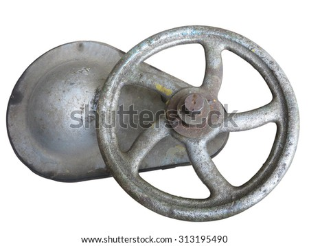 Old rusty industrial pipe valve for hot water over white background - stock photo