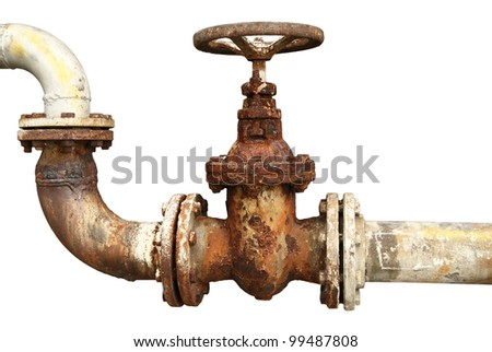 old rusty industrial tap water pipe and valve - stock photo