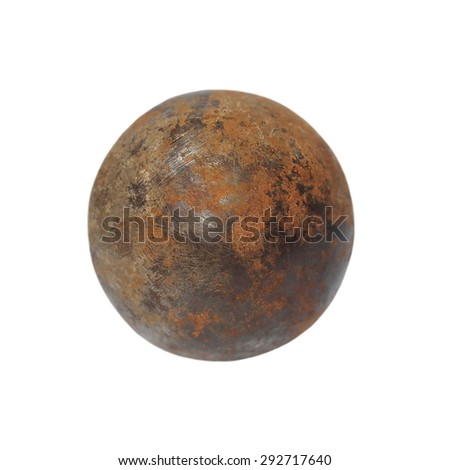 old rusty iron metal ball isolated on white background with clipping path - stock photo