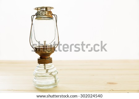 old rusty kerosene lamp, Old oil lamp - stock photo