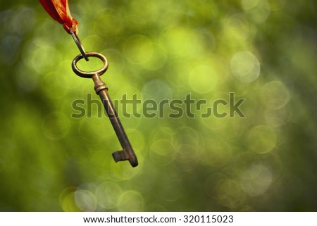 Old rusty key hanging in the air