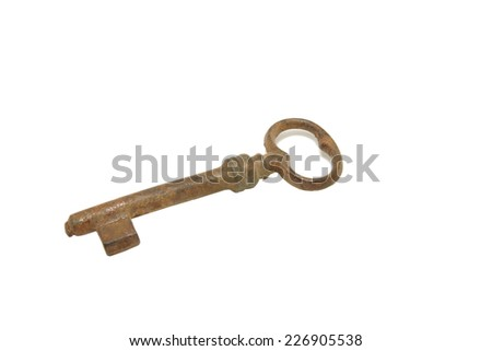 old rusty key isolated