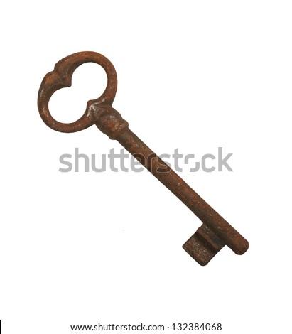 old rusty key isolated on white - stock photo