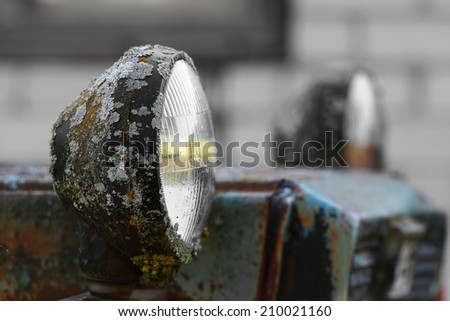 Old rusty lamp covered with moss on natural gray background - stock photo