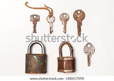 Old rusty lock and key - stock photo