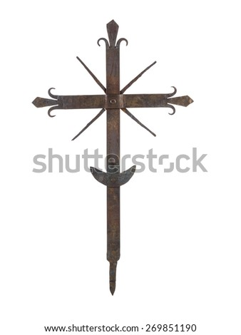 Old rusty metal cross on white background - stock photo