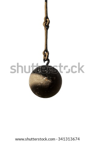 Old rusty metal iron ball isolated on white - stock photo