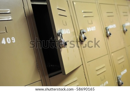 old rusty metal lockers with locks represents concepts such as safety security - Metal Lockers