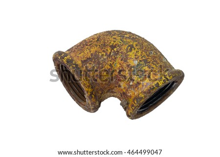 Old rusty metal pipe isolated on a white background