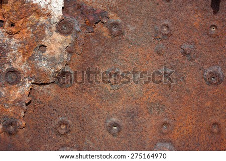Old Rusty Metal Plate Background - stock photo