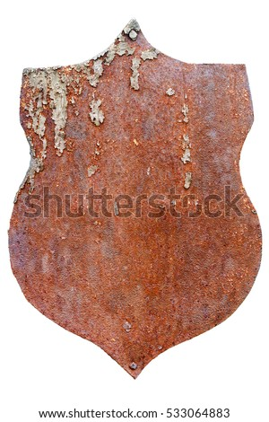 Old rusty metal plate isolated on white background
