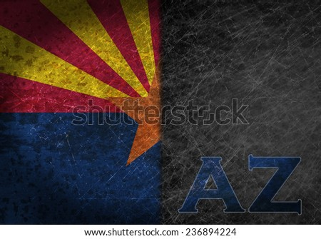 Old rusty metal sign with a flag and state abbreviation - Arizona - stock photo