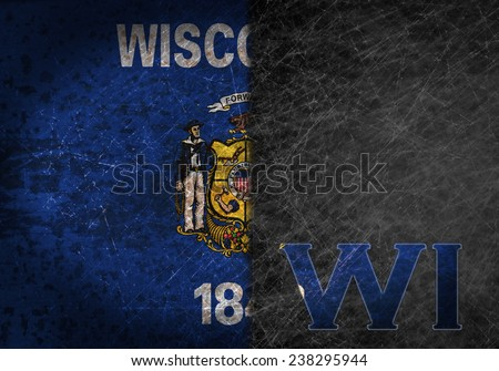 Old rusty metal sign with a flag and US state abbreviation - Wisconsin - stock photo