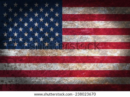 Old rusty metal sign with a flag - United States of America - stock photo