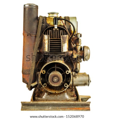 Old rusty motor engine isolated on a white background - stock photo