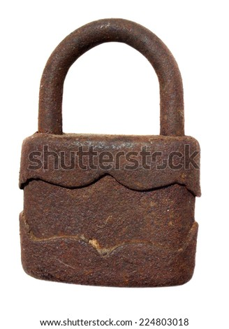 Old rusty padlock on white background