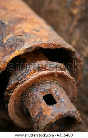 Old rusty pipe in close view