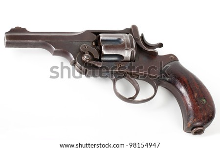 old rusty pistol isolated on white background