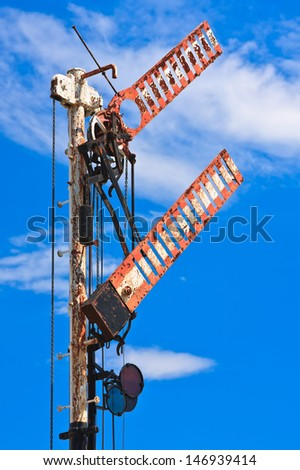 Old rusty railroad signal - stock photo